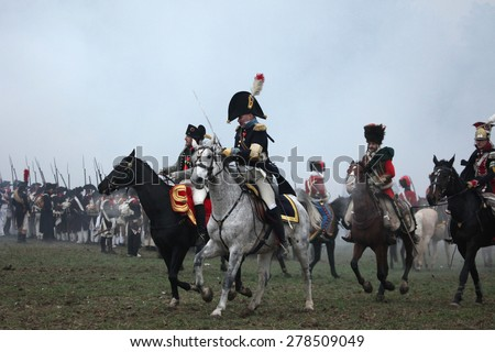 TVAROZNA, CZECH REPUBLIC â?? DECEMBER 3, 2011: US actor Mark Schneider (L) dressed as Napoleon Bonaparte attends the re-enactment of the Battle of Austerlitz (1805) near Tvarozna, Czech Republic. - stock photo