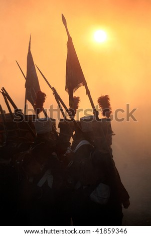 TVAROZNA, CZECH REPUBLIC - NOV 27: History fans in military costumes reenact the battle of Austerlitz, which won Napoleon on November 28, 2009 near the village of Tvarozna, Czech Repuplic.