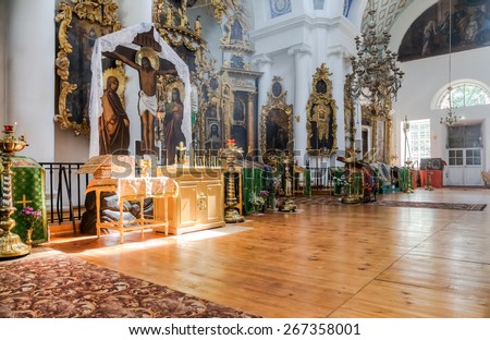 TVER REGION, RUSSIA - JULY 12, 2014: Interior of the Church of the Holy Face in the village Mlevo. Church was founded in 1849 - stock photo