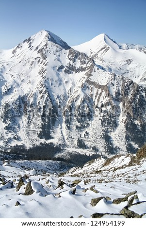 Tween peaks. Winter in Mountain, Bulgaria. - stock photo