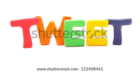 TWEET - webwords of plasticine letters standing isolated on white