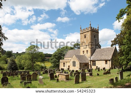 Twelfth century Cotswolds church (St Eadburgha's ) Broadway, England - stock photo