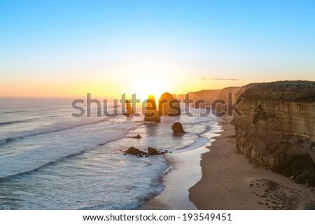 Twelve Apostles at sunset. Great Ocean Road, Victoria, Australia - stock photo