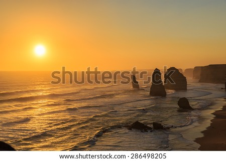 twelve apostles at the sunset, port Campbell, victoria, Australia - stock photo
