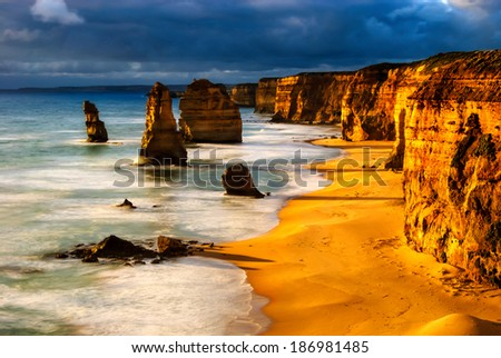 twelve apostles australia sunset great ocean road - stock photo