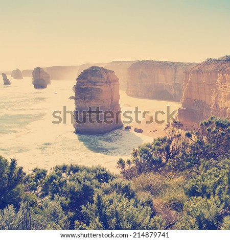 Twelve Apostles, famous landmark along the Great Ocean Road, Australia with Instagram style filter - stock photo