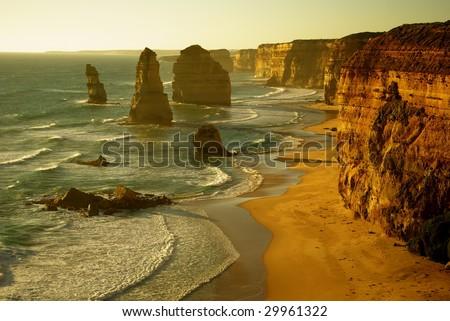 Twelve Apostles, Great Ocean Road, Australia at sunset. - stock photo