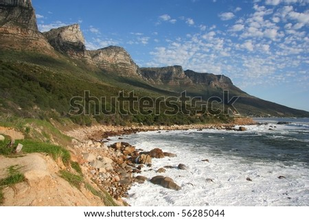 Twelve Apostles mountains in Cape Town at the coast - stock photo