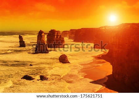 Twelve Apostles, natural landmark near the Great Ocean Road at dramatic sunset. Victoria, Australia