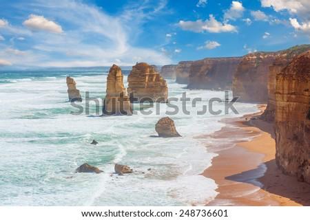Twelve Apostles, natural landmark near the Great Ocean Road. Victoria, Australia - stock photo