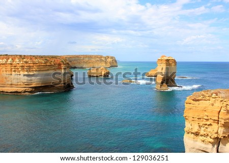 Twelve apostles seascape along the great ocean road in australia - stock photo