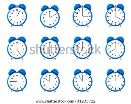 Twelve blue alarm clock's showing different time isolated on white background - stock photo