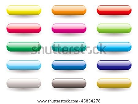 Twelve brightly colored lozenge shaped icons buttons with drop shadow - stock photo