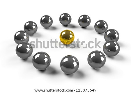 Twelve chromized balls around of one gold ball symbolize - LEADERSHIP