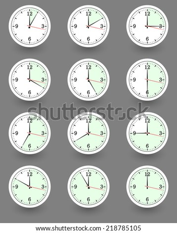 Twelve clocks showing different time.  illustration - stock photo