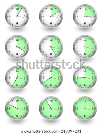 Twelve clocks showing different time on white. illustration - stock photo