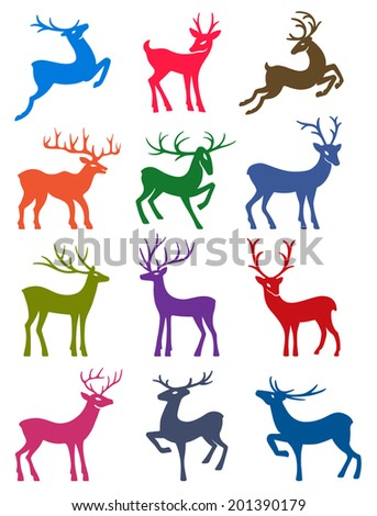 Twelve colored deer set silhouettes isolated on white background - stock photo