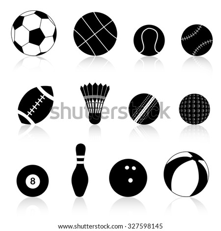 Twelve different black and white sport balls isolated on white background.