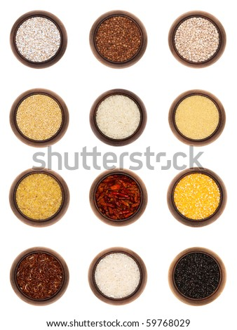 twelve different cereals in wooden bowls, isolated