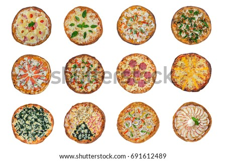 Twelve different pizza set for menu. Italian and Thai fusion food traditional cuisine.Clipping path and Isolated