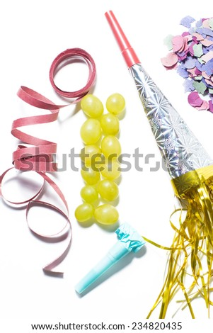 Twelve grapes and utensils for New Year's holiday - stock photo