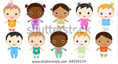 Twelve happy baby girls and boys. Raster version. - stock photo