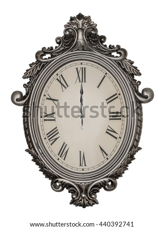 Twelve hours or zero hours. Antique wall clock isolated on white background. - stock photo