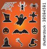Twelve icons for Halloween, illustration - stock photo