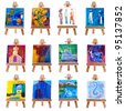 Twelve mini paintings on easels isolated on white - stock photo