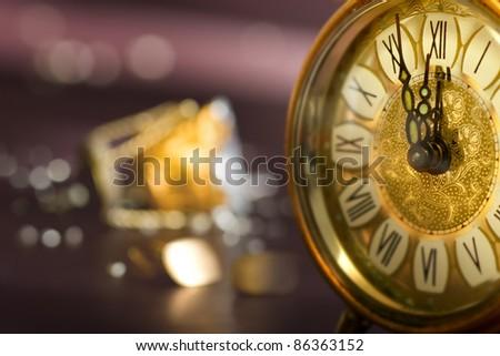 Twelve O'clock midnight in retro style - stock photo