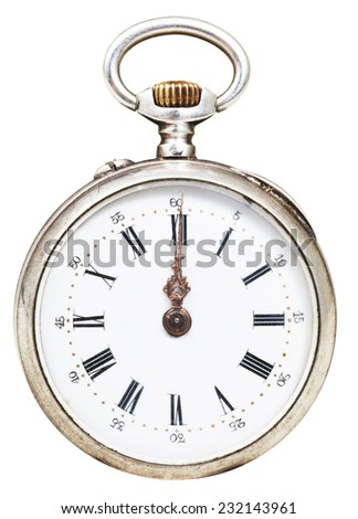 twelve o'clock on the dial of retro pocket watch isolated on white background - stock photo