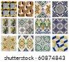 twelve patterns of Portuguese tiles - stock photo