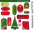 Twelve Sets of Christmas tags. - stock photo