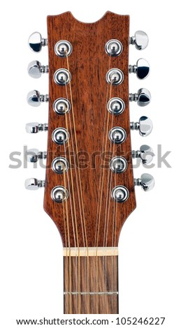 Twelve String Acoustic Guitar Tuning Pegs Isolated On White Background