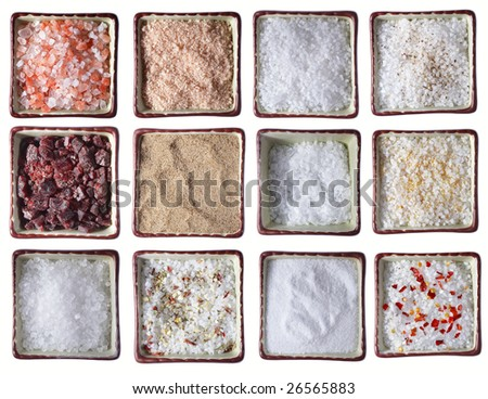 twelve types of Sea SALT in square bowls, over white - stock photo