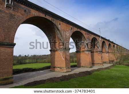 Twemlow railway viaduct, Cheshire, UK, near Holmes Chapel built in 1841 crossing the river Dane - stock photo