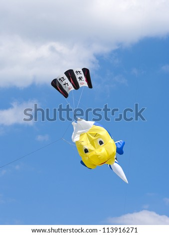 TWENTERAND, NETHERLANDS - JUNE 30: Colorful kite at the 3rd international kite festival on june 30, 2012 in Twenterand, Netherlands.Most of the participants are from Germany and Belgium.