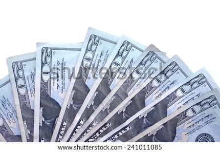 Twenty American dollar bills - stock photo