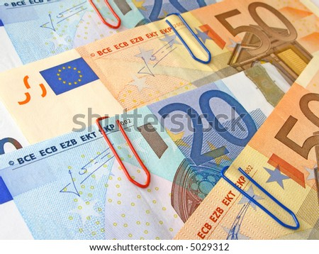 Twenty and Fifty Euro banknotes with shallow depth of field and focus on the 20 - stock photo