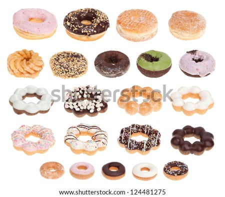 Twenty different donuts isolated on a white background. - stock photo