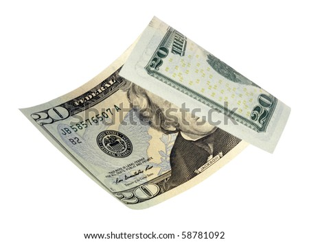 twenty dollar banknote,isolated on white with clipping path. - stock photo