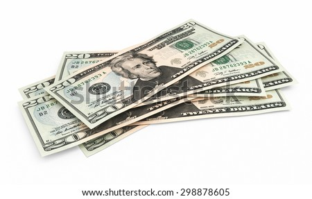 Twenty dollar banknotes close-up (isolated and clipping path) - stock photo