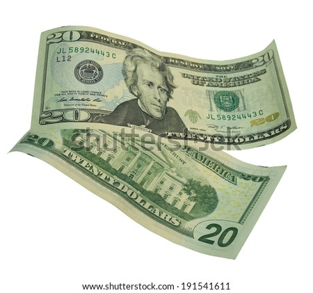 Twenty dollar bill isolated on white  - stock photo