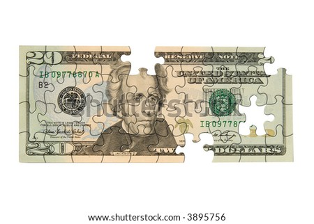 Twenty dollar bill with pieces missing isolated over white - stock photo