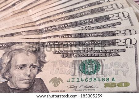 Twenty Dollar bills - stock photo
