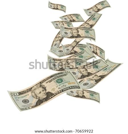 Twenty dollar bills floating on a white background, floating money - stock photo