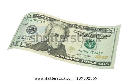 twenty dollar bills isolated on white