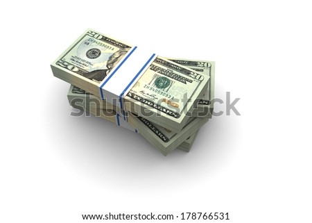 Twenty Dollar bills stack illustration on white background