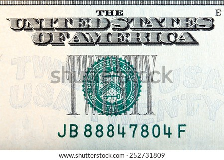 Twenty dollar sign on the twenty dollar bill, macro shot. - stock photo
