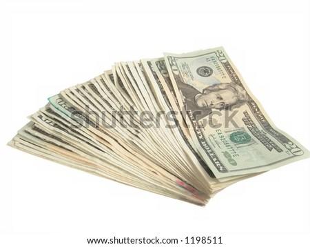 Twenty Dollar US Bills - stock photo